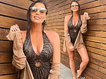 Newlywed Jess Wright stuns in a plunging patterned swimsuit as she celebrates her 36th birthday