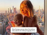 Elsa Hosk hits back at critics who claim her naked snap with daughter is 'child pornography'