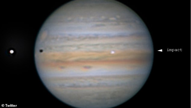 German astronomer Harald Paleske was watching the shadow of Jupiter's moon, Io (left ciricle), create a solar eclipse in the planet's atmosphere of Jupiter when he spotted the probable impact