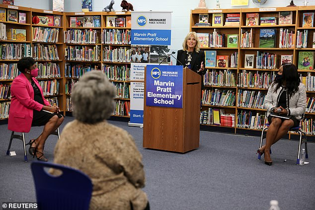 Jill Biden hit the road on Wednesday to talk about school safety during the COVID pandemic after making her own return to in-person learning
