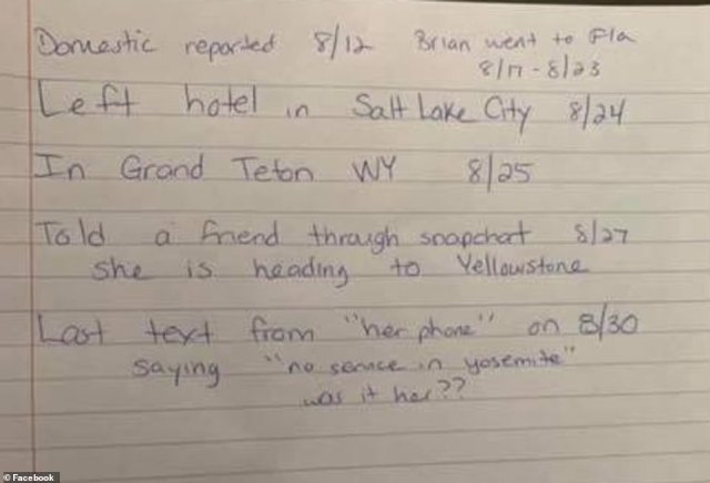 'No service in Yosemite,' reads the text from Petito's cell phone, sent August 30 to her mother Nichole Schmidt, DailyMail.com can reveal. Her uncle Mike Schmidt posted this handwritten timeline of events