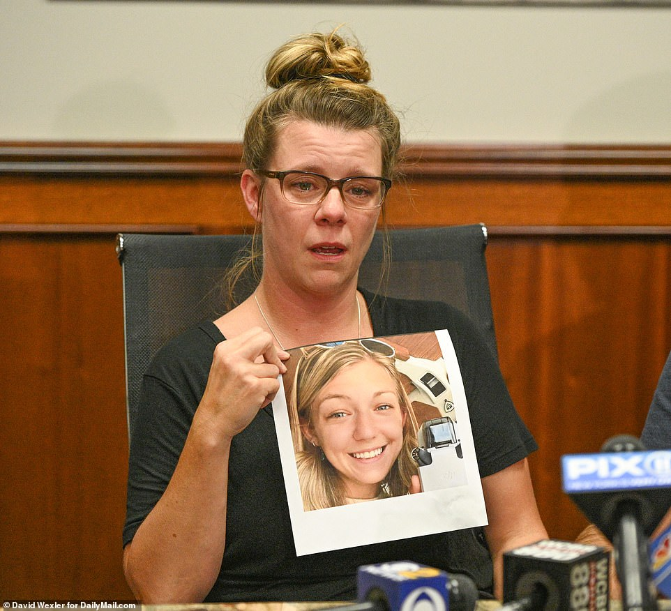 Nicole Schmidt, of Long Island, New York, gave a teary-eyed interview to reporters on Monday afternoon about her daughter Gabby Petitio. Schmidt tells DailyMail.com that on September 10 she texted Brian and his mother Roberta trying to get in touch with Gabby, but neither replied