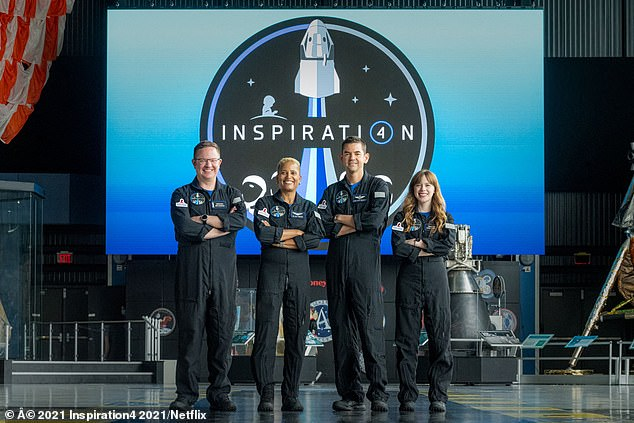 Dr Sian Proctor, 51, (second from left) will board the Dragon capsule prior to an 8pm ET lift off and spend three days circling Earth along with Jared Isaacman, (second from right) 38, Hayley Arceneaux, 29, (right) and Chris Sembroski, 41 (left)