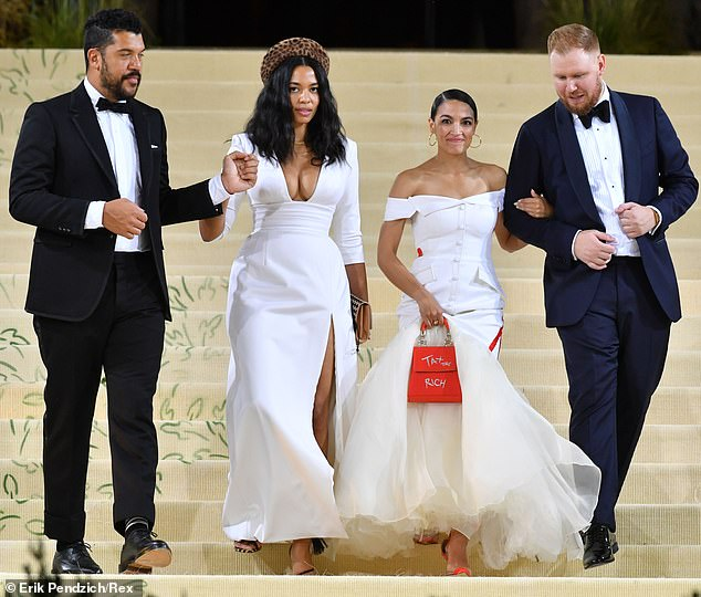 Bronfman and Roberts did not walk the red carpet with James and AOC at the start of the night, but they all left together