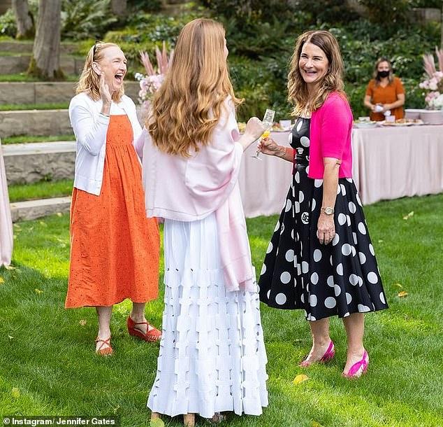 Celebration: Newly-divorced Melinda Gates (right) hosted a bridal shower for her eldest daughter Jennifer (center) at the $125 million eco-mansion she once shared with ex Bill