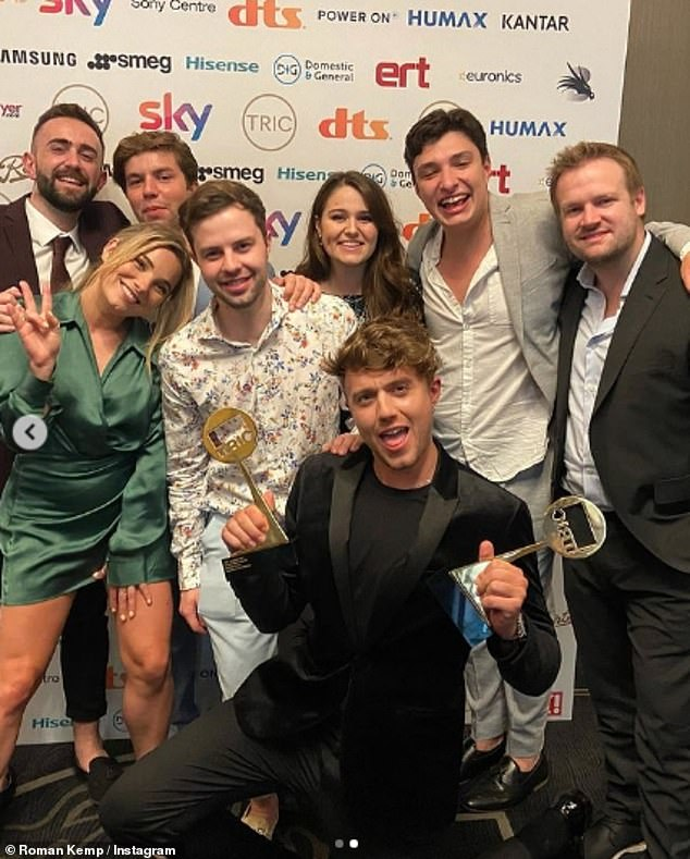 Over the Moon: Roman Kemp won two awards with his Capital FM team at the 2021 TRIC Awards on Wednesday after hosting a star-studded bash.