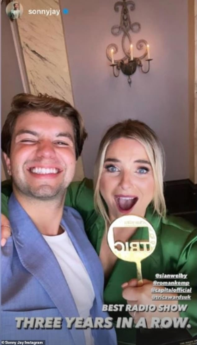 Congratulations!  Romans Capital co-host Sonny J, 28, also took a few photos from the awards on his Instagram Stories when he posed with 33-year-old Cian Welby