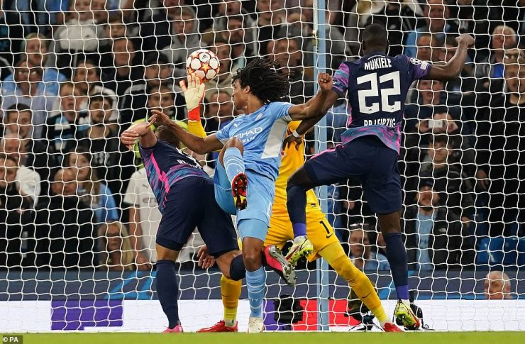Nathan Ake headed City into the lead after beating Peter Gulacsi at a corner from close-range at the Etihad Stadium