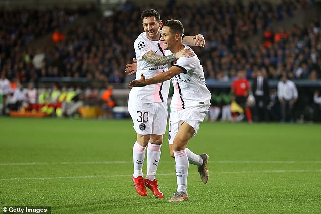 Ander Herrera celebrates with Lionel Messi after scoring the opening goal in the 15th minute