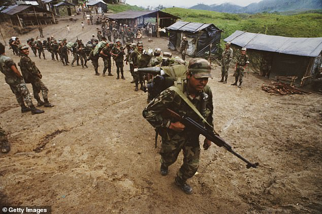 Pictured: A group of contra guerrillas operating in Nicaragua and Honduras in 1989. They were attempting to overthrow the Sandinista government of Nicaragua