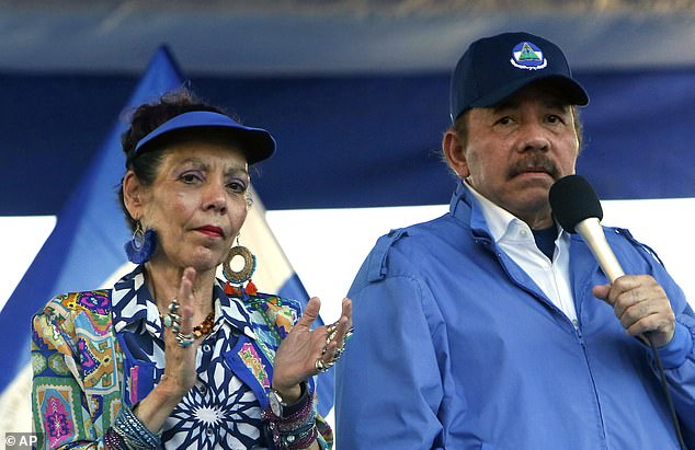 Ortega is pictured with his wife, Vice President Rosario Murillo at a rally in Managua in 2018