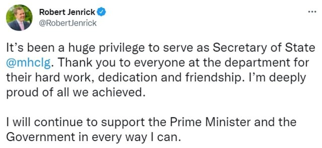 Communities Secretary Robert Jenrick tweeted to say he has been removed