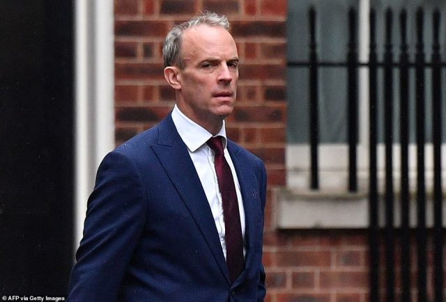 In a two-hour cull, he sacked four top ministers and handed a humiliating demotion to Dominic Raab (pictured on Wednesday)