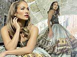 Jennifer Lopez is a timeless beauty as she models a strapless gown on a gondola in Venice