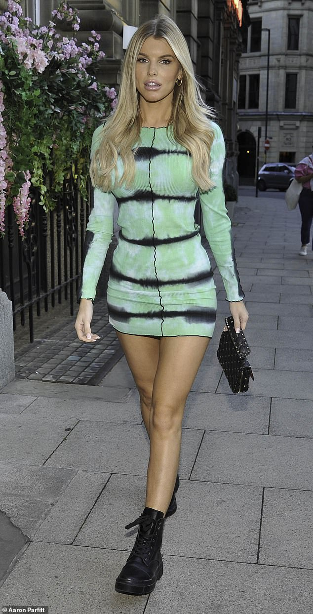 Sight in green: Love Island star Hayley Hughes, 25, made sure all eyes were on her when she stepped out in a funky green and blue outfit in Manchester on Wednesday night