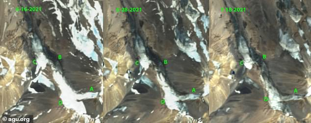 Satellite imagery from June 16 and 28 and July 18 illustrating the progressive snowcover loss on the glacier.