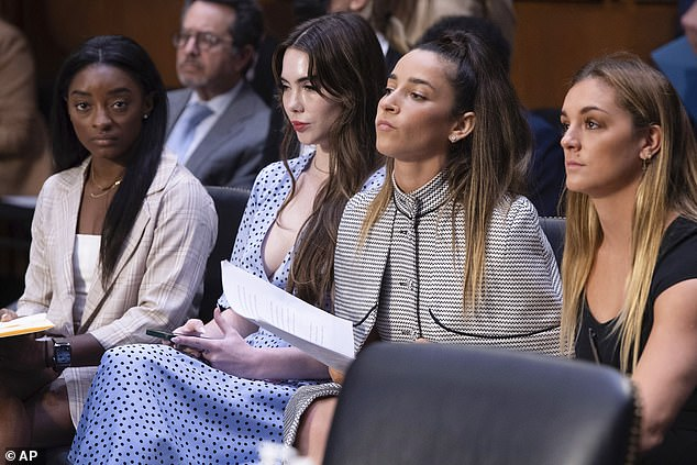 Support: Biles was joined by fellow star athletes and Nassar survivors McKayla Maroney, Aly Raisman, and Maggie Nichols (left to right), who all testified at the hearing on Capitol Hill