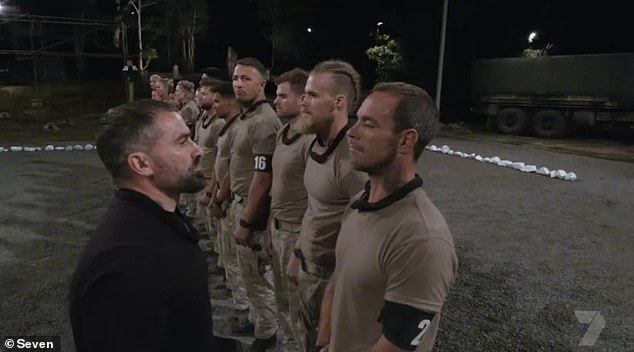 Denial:After initially denying any wrongdoing in front of the rest of the recruits (pictured), chief instructor Ant Middleton later pulled Koby into his office and showed him the evidence to his face