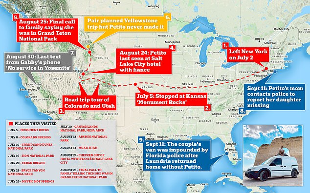The above map illustrates the places Petito and Laundrie visited since the start of the trip leaving New York on July 2 to when she last spoke to her family on August 25 from Grand Teton National Park.