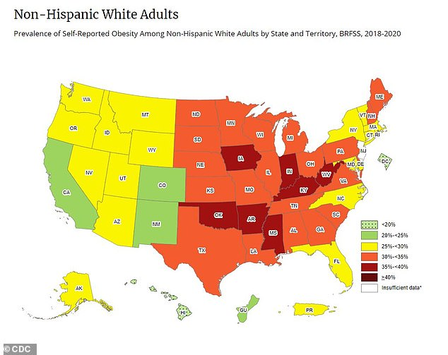 In only seven states, the prevalence of obesity among white adults was 35 percent or more.