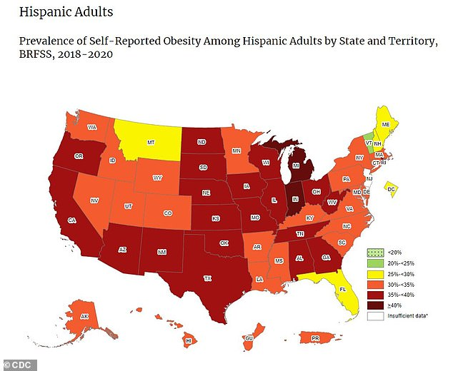 Twenty-one states had Hispanic populations with more than a third of obese adults (above), three times the number of white states.