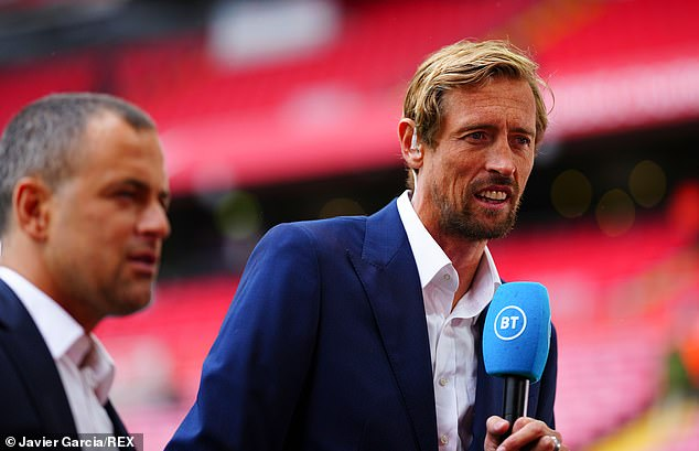 Ex-Liverpool striker Crouch (right) compared Henderson's technique and power to Gerrard
