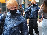 Ed Sheeran treats fans to selfies as he leaves his hotel in New York
