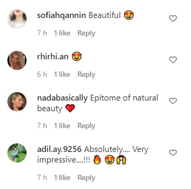 Gushing: Shanina's followers flocked to the comments section to praise her beauty