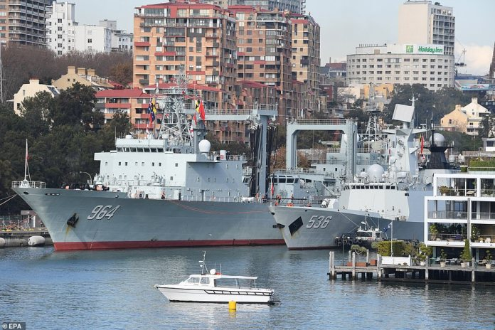 Pictured: Chinese ships atGarden Island Naval Base in Sydney in June 2019. The move towards a nuclear Australia has been described as 'China's Worst Nightmare' in a strategic bid to counter its influence in the region