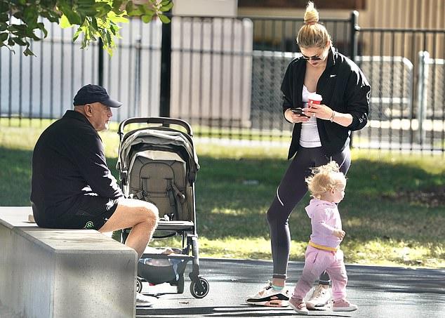Brisbane bound: Jasmine recently reunited with her sick grandmother in Brisbane after doing 14 days of hotel quarantine in Queensland with her daughter Harper