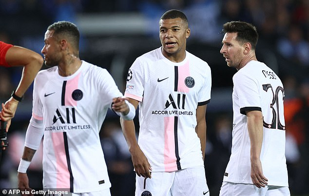 Neymar, Kylian Mbappe and Lionel Messi all started together in the Champions League