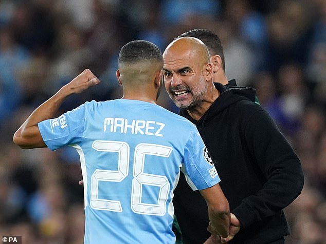 Riyad Mahrez received a very public dressing down from Pep Guardiola for not tracking back enough during Manchester City's 6-3 Champions League win over RB Leipzig