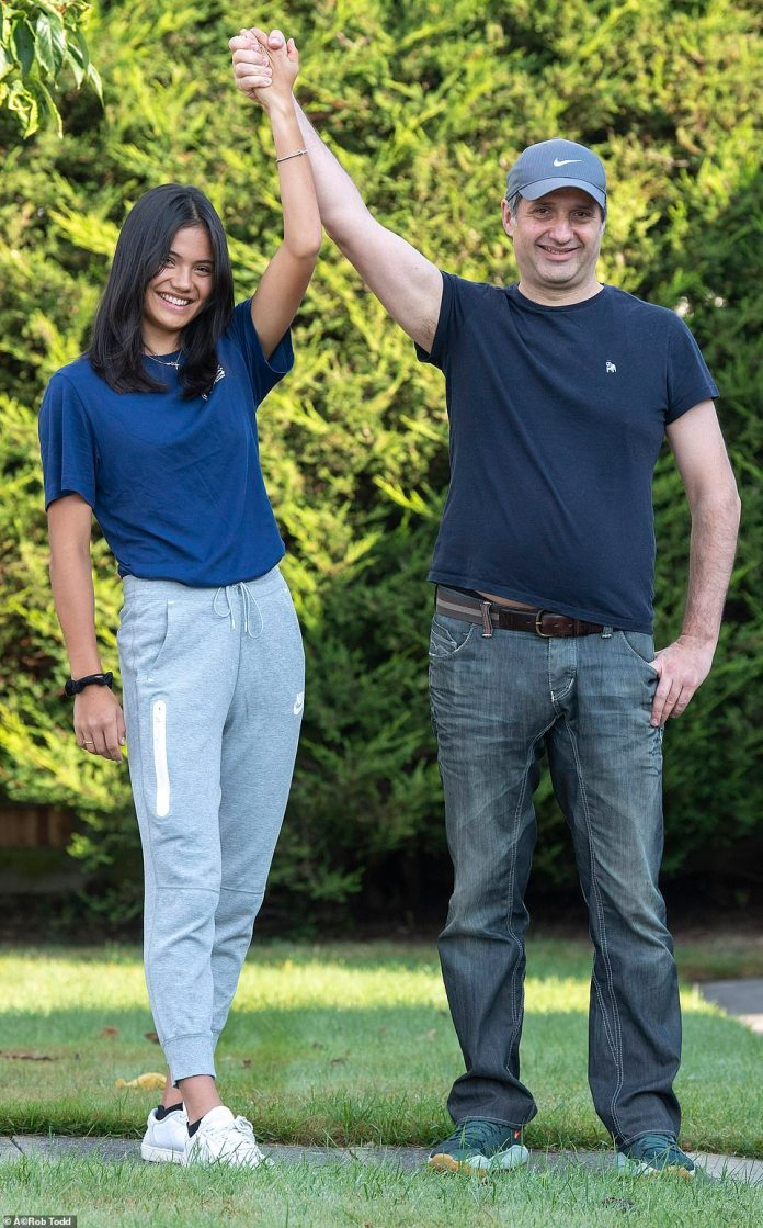 US Open Winner Emma Raducanu with father Ian after arriving back at the family home in Bromley this morning