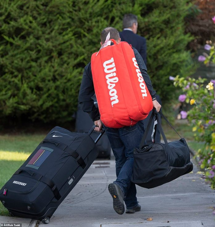 Her father was pictured smiling broadly with the young tennis star as she arrived home with luggage in tow this morning