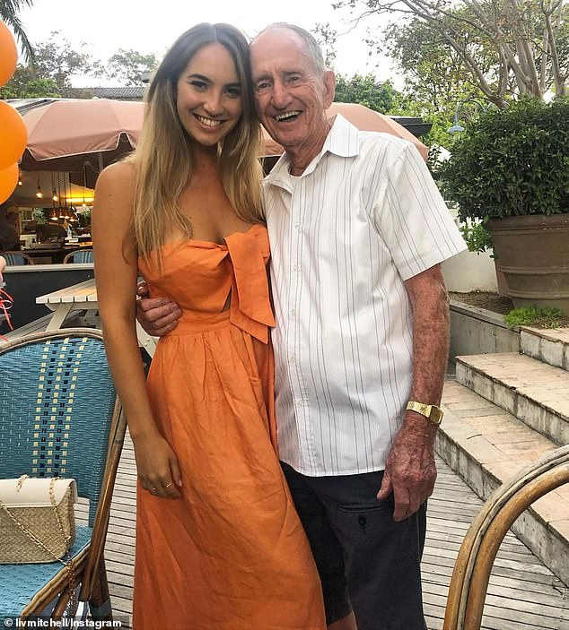 Despite not being trained as nurses or carers, and only having had a single dose of vaccines, the careful sisters have successfully managed to avoid catching Covid themselves. (PIctured, Brittany Mitchell with her grandfather Ted Cavanagh)
