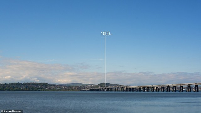 'Part of the film shows what a one kilometre [0.6 mile thick] ice sheet would have looked like on top of the Law, and I remember my mind being blown when Max first told me about that,' said Mr Duncan. The law (pictured here showing the relative height of the ice sheet) is the highest point in Dundee — a 571 feet (174 metres) -tall remnant of a volcanic sill