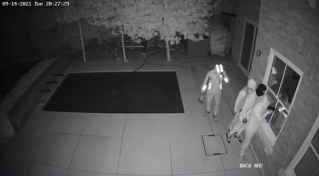 One clip shows some of the thieves struggling to move the safe while others struggle to open the gates of the footballer's home. Eventually, they manage to do both things and load the safe into the back of a getaway car