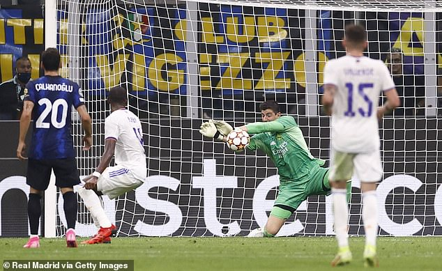 Thibaut Courtois makes one of several crucial saves as Real Madrid defeated Inter Milan