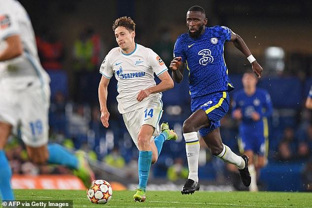 Antonio Rudiger bursts forward out of defence during Chelsea's slender win over Zenit