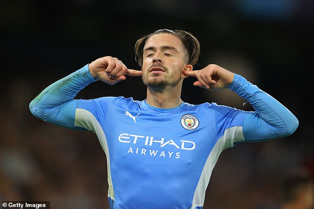 Jack Grealish celebrates his first Champions League goal as Manchester City ran in six goals