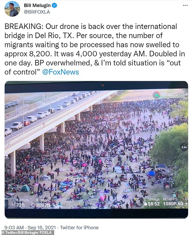 Officials reported that there were more than 4,000 migrants waiting under the bridge to be processed on Wednesday, but by Thursday morning that number surged to some 8,200