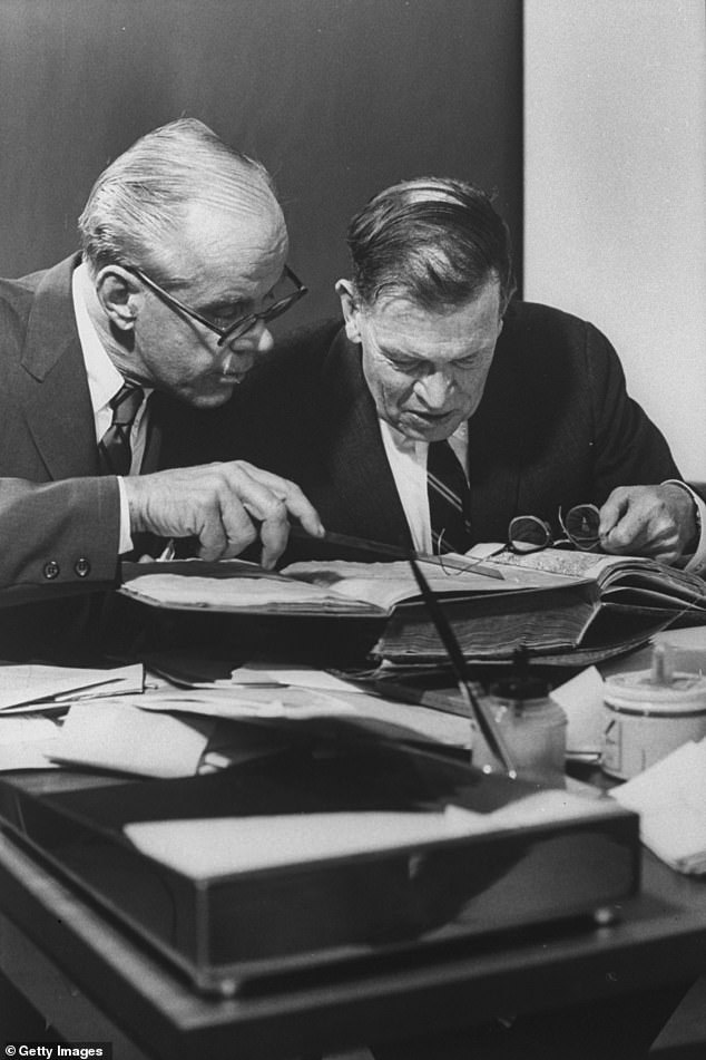 Yale obtained the map in 1965.  In the picture are Yale University curators, Alexander Vieter, in the Beinecke Rare Book Library, and Thomas Marston, examining a 15th-century map of Vineland.