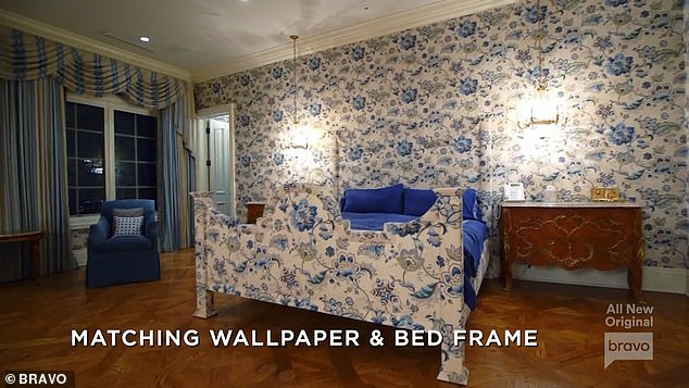 Matching: The house featured a bedroom with matching wallpaper and bed frame