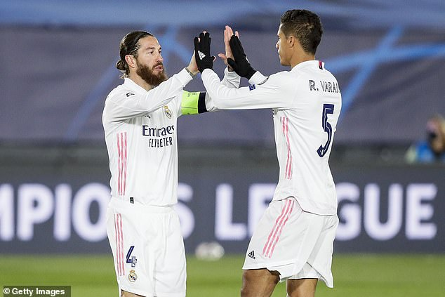 Incoming manager Ancelotti feared Real would be short at the back after Sergio Ramos (left) and Raphael Varane (right) left the club during the summer