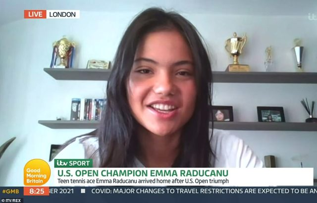 Emma Raducanu, 18, revealed she hasn't been able to find a free tennis court to practice since her stunning win inspired Britons to get into the sport