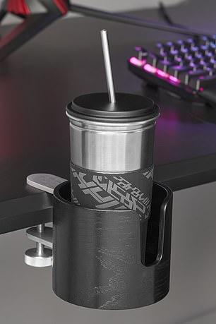 A cup holder clips onto the edge of your desk, ensuring you stay hydrated while gaming