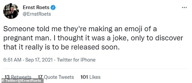 Ernsteroets said that though he had a pregnant male emoji was just a joke.  New pregnancy options could be used to represent trans men, non-binary people or women with short hair