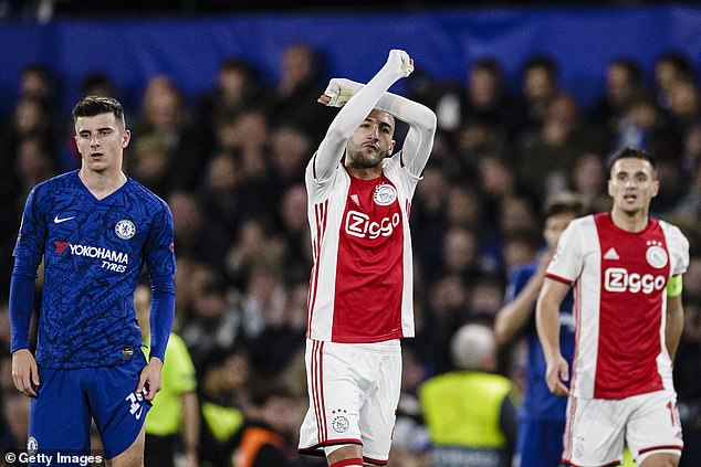 Hakim Ziyech celebrates scoring at Chelsea just three months before joining them from Ajax