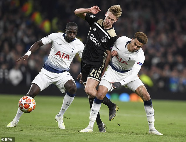 Frenkie de Jong takes on Tottenham duo Moussa Sissoko (left) and Dele Alli during the 2019 Champions League semi-final first leg at the Tottenham Hotspur Stadium