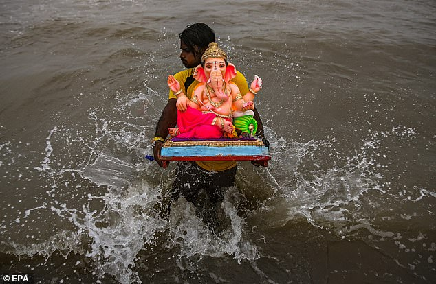 On the tenth day of Ganesh Chaturthi, the idols of the elephant-headed deity are immersed in a nearby river or sea.